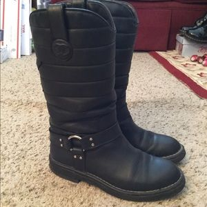 CHANEL LOGO QUILTED MOTO MID CALF BOOTS, AMAZING!